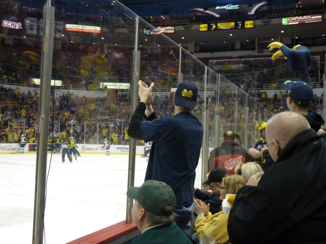 the crowd overwhelmingly favored the Wolverines and ERUPTED when UM scored first